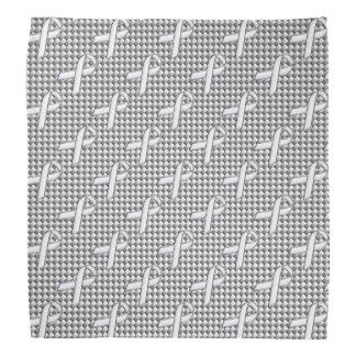 White Ribbon Awareness White Carbon Fiber Print Bandana