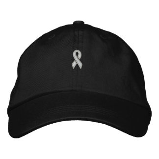 White Ribbon Cap by SRF Embroidered Hat