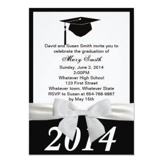 White Ribbon Graduation Invitation
