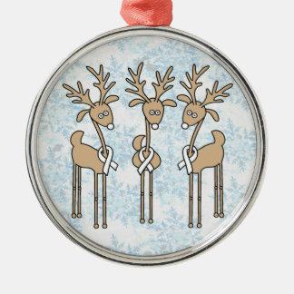 White Ribbon Reindeer Christmas Ornament