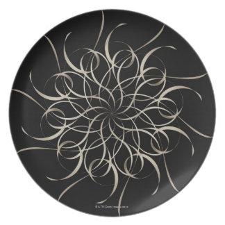 White Ribbon Snowflake Pattern Plate
