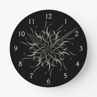 White Ribbon Snowflake Pattern Round Clock