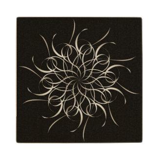 White Ribbon Snowflake Pattern Wood Coaster
