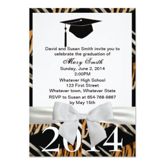 White Ribbon Zebra And Tiger Graduation Invitation