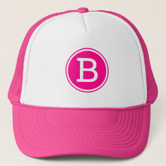 White Ring Hot Pink Circle Monogram Trucker Hat