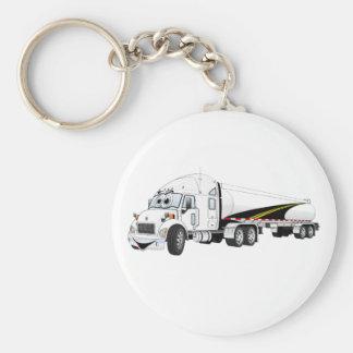 White Roadway Semi Truck Tanker Cartoon Key Chain