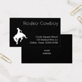 White Rodeo Cowboy Shape Business Card