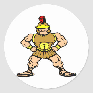 White Roman Spartan Warrior Classic Round Sticker