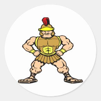 White Roman Spartan Warrior Round Stickers