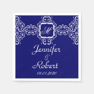 White Romance Monogram Wedding Disposable Serviette