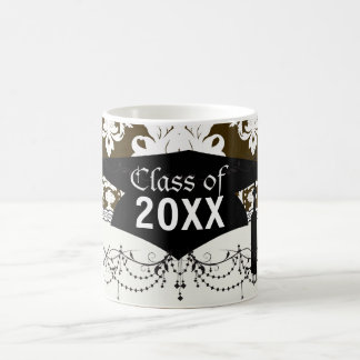 white romantic damask on dark brown graduation basic white mug