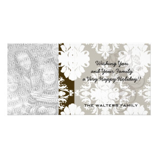 white romantic damask on dark brown personalized photo card