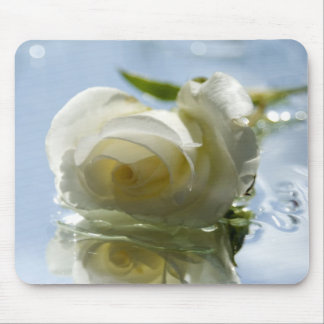 white romantic rose mouse mat
