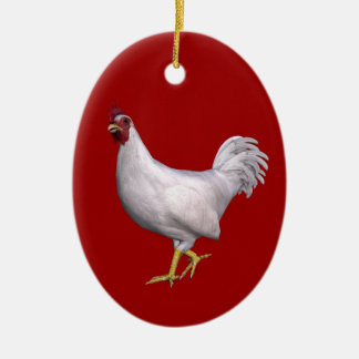 White Rooster Christmas Ornament