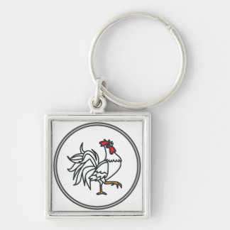 White Rooster  - Fish Prawn Crab Collection Silver-Colored Square Key Ring