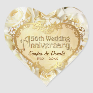 White Rose 50th Golden Wedding Anniversary Heart Sticker