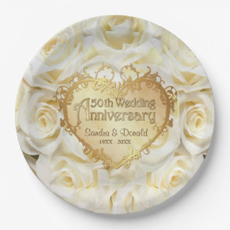 White Rose 50th Wedding Anniversary 9 Inch Paper Plate