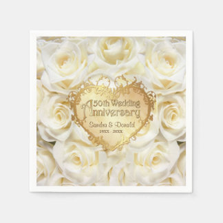 White Rose 50th Wedding Anniversary Disposable Serviette