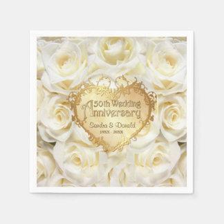 White Rose 50th Wedding Anniversary Disposable Serviette