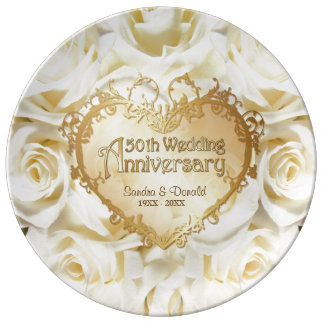 White Rose 50th Wedding Anniversary Plate Porcelain Plate