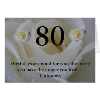 White Rose 80th Birthday Greeting Card