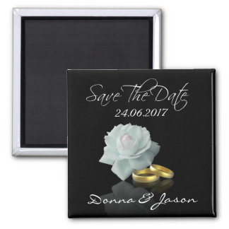 White Rose and Golden Rings - Save the Date Magnet