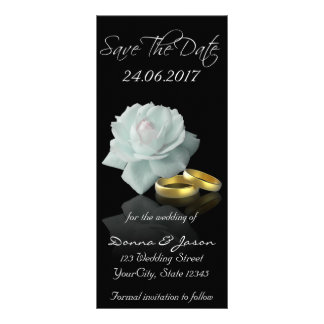 White Rose and Golden Rings Save the Date Rackcard Personalised Rack Card