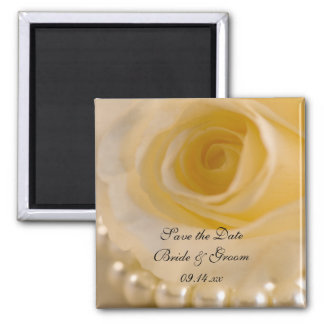 White Rose and Pearls Wedding Save the Date Square Magnet