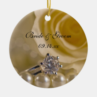 White Rose and Pearls Will You Be My Bridesmaid Round Ceramic Decoration