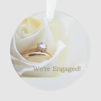 white rose and rings engagement announcement ornament