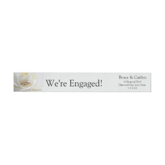 white rose and rings engagement announcement wrap around label