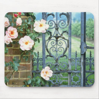 white Rose And Wrought Iron Gate flowers Mouse Mat