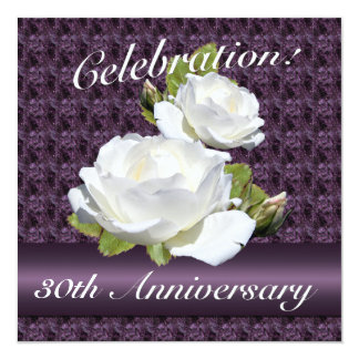 White Rose Anniversary Party Invitations