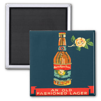 White Rose Beer - An Old Fashioned Lager Square Magnet