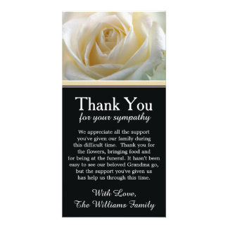 White Rose Bereavement Sympathy Thank You Card