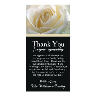 White Rose Bereavement Sympathy Thank You Custom Photo Card