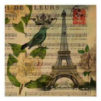 White rose birds botanical art vintage Paris Print
