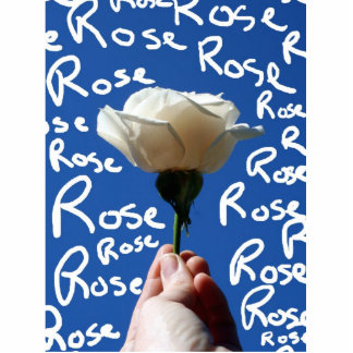 White rose blue back Rose written in white Acrylic Cut Outs