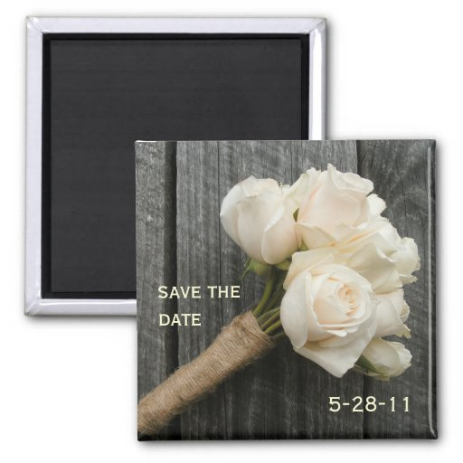 White Rose Bouquet and Barnwood Save The Date Fridge Magnets