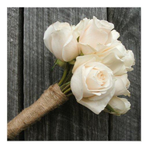 White Rose Bouquet & Barnwood Wedding Invitation