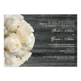 White Rose Bouquet Barnwood Wedding Custom Invites