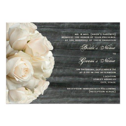 White Rose Bouquet & Barnwood Wedding Custom Invites
