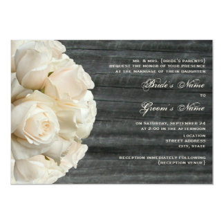 White Rose Bouquet & Barnwood Wedding 5x7 Paper Invitation Card