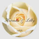 White Rose Bud Personalised Round Wedding Sticker