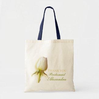 White rose bud wedding bridesmaid thank you bag