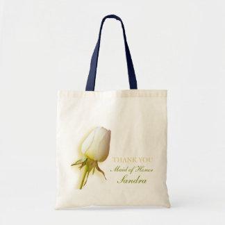 White rose bud wedding maid of honor bag