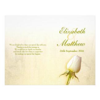 White rose bud wedding programme 21.5 cm x 28 cm flyer
