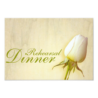 White rose bud wedding rehearsal dinner invite