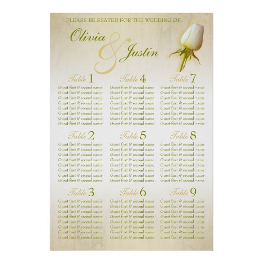 White Rose Bud Wedding Seating Table Planner 1-9 Poster