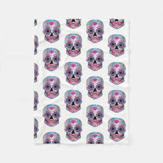 White Rose Candy Skull Pattern on Fleece Blanket